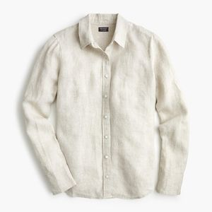 New JCREW Petite slim perfect shirt in Irish linen